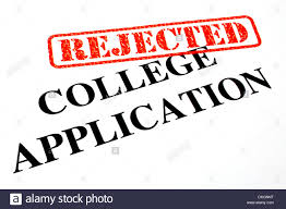 close up of a u0027rejected u0027 college application letter stock photo