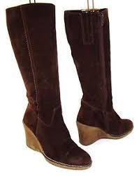 s heeled boots uk genuine suede leather brown wedge heel knee length boots
