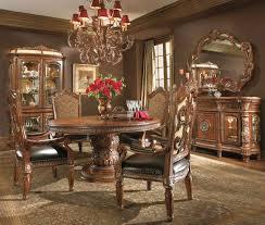 aico living room set michael amini villa valencia chestnut traditional round table dining