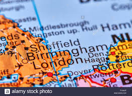 Sheffield England Map by Birmingham City In England On The World Map Stock Photo Royalty