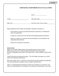performance evaluation template fillable u0026 printable samples for