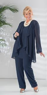 plus size navy blue mother of dresses pant suit long sleeve