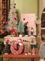 vintage christmas bottlebrush trees on mantle i can use my boxes