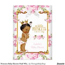 Invitation Card Baby Shower Princess Baby Shower Pink White Floral Ethnic 2 5x7 Paper