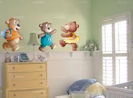 autocollant chambre bébé stickers muraux ourson léo l ourson