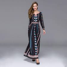 maxi dresses with sleeves women maxi dresses v neck vintage 70s mexican ethnic floral dress