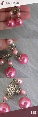 cool dangle earrings fab pink pearl ombre dangle earrings clip 1950s cool dangle