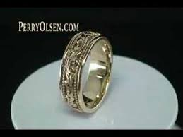 carved wedding band 14k yellow gold carved paisley design wedding band ring