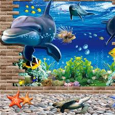 3d ocean world dolphins home removable wall sticker mural decals 3d ocean world dolphins home removable wall sticker mural decals decor