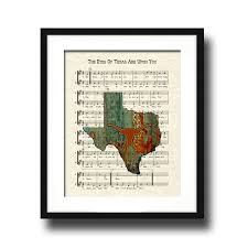 Map Of Ut Austin by The Eyes Of Texas Are Upon You Song Lyric Sheet Music Art