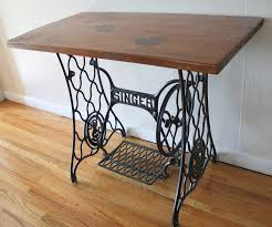 Wood Table Base by Antique Singer Sewing Machine Iron Table Base With Wood Top