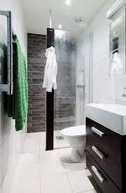 small ensuite ideas like the idea of the glass door coming out half way good colors too