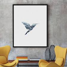 Spray Printed Oil Painting Simple Splicing Hummingbird Wall Decor