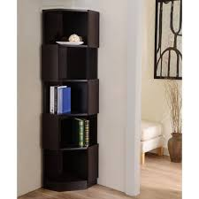 Espresso Corner Bookcase Furniture Of America Laina Geometric Espresso 5 Shelf Corner