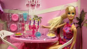 barbie glam dining room furniture u0026 doll set mattel x7942