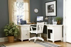 corner space for small office decor with white stained wooden desk