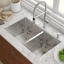 Kraus Stainless Steel  X  Double Bowl Undermount Kitchen - Double bowl undermount kitchen sinks