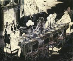 haunted mansion dining room concept art by marc davis flickr