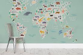 safari kids map wall mural milexa