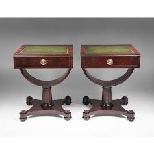 pair of mid 20th c weiman leather top side tables from piatik on