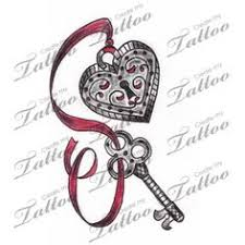 heart locket w ribbon tattoo design by push it art random