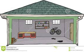 isolated open garage with bike stock illustration image 50459156