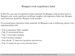Resume Sample For Cook Position by Banquetcookexperienceletter 140901115134 Phpapp01 Thumbnail 4 Jpg Cb U003d1409572318