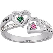 Walmart Jewelry Wedding Rings by Personalized Sterling Silver Couples Heart Birthstone U0026 Name