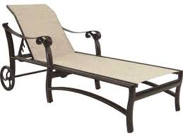 Chaise Lounge With Wheels Outdoor Castelle Bellanova Sling Cast Aluminum Adjustable Chaise Lounge