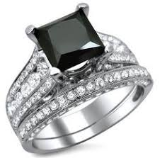 Black Diamond Wedding Rings by 3ct Black Diamond Ring With White Gold Accent Band Wedding Set