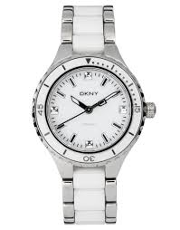 white ceramic bracelet images Lyst dkny silver and white ceramic bracelet watch in metallic jpeg
