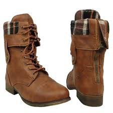 womens boots mid calf brown s mid calf fold comfort lace up combat boots us size 5