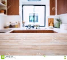 Kitchen Background Table Top With Blur Kitchen Pantry Home Background Stock Photo