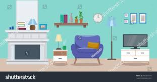 cozy interior modern elegant living room stock vector 702367819
