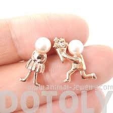 boy earrings boy and girl stud earrings in gold with pearl