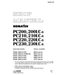 komatsu hydraulic excavator pc200 200lc 6 pc210 210lc 6 pc220