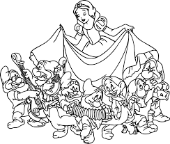 snow white the seven dwarfs coloring page wecoloringpage