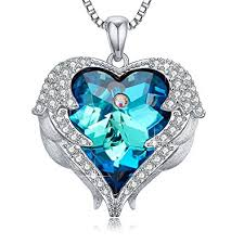 blue heart crystal necklace images Blue heart crystal pendant necklace birthday jpg