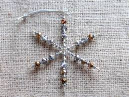 antique gold silver beaded snowflake ornament medium