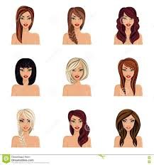 set of hairstyles for girls create their avatar a young woman