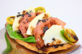 cuisine et creation bruschetta tomato basil mozzarella balsamic black cyprus sea