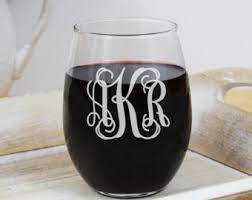 wine glass with initials monogram wine glass etsy