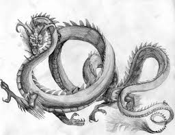 drawn chinese dragon detailed pencil and in color drawn chinese