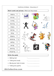vocabulary matching worksheet elementary 2 3 action verbs