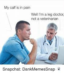 Doctor Meme - my calf is in pain well i m a leg doctor not a veterinarian snapchat