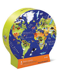 World Map Puzzles by Crocodile Creek Rounded Box Puzzle 60 Pieces U2013 World Map And