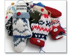 recycled wool mitten ornament