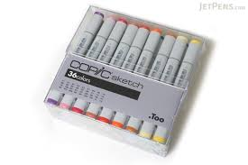 copic sketch marker 36 basic color set jetpens com