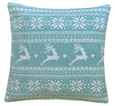 Stag Cushions Nordic Stag Duck Egg Blue U0026 White 18 Inch Chenille Christmas