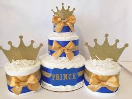 set of 3 mini diaper cakes in royal blue and gold prince theme